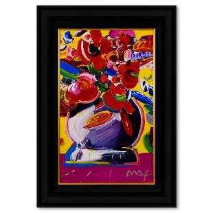 """Peter Max """"Flowers"""" Original Mixed Media On Paper"""
