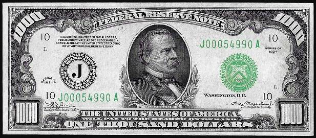1934 $1,000 Federal Reserve Note Kansas City