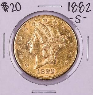 1882-S $20 Liberty Head Double Eagle Gold Coin