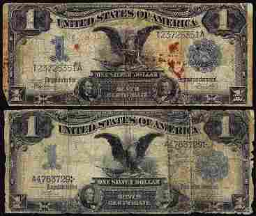 Lot of (2) 1899 $1 Black Eagle Silver Certificate Notes