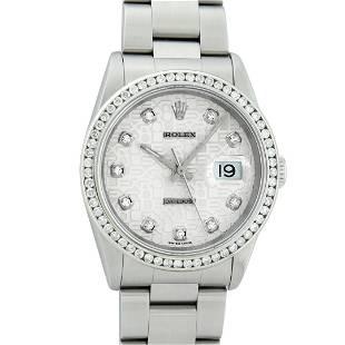 Rolex Mens Stainless Steel Diamond Datejust Wristwatch