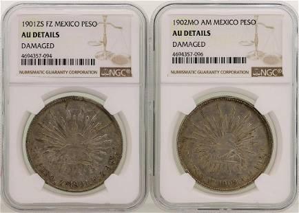 Lot of 1901ZS & 1902MO Mexico Pesos Silver Coins NGC