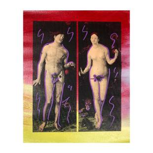 "Steve Kaufman (1960-2010) ""Adam And Eve"" Original Mixed"