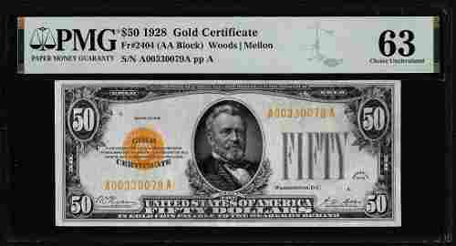 1928 $50 Gold Certificate Note Fr.2404 PMG Choice