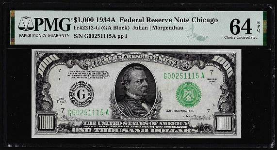 1934A $1,000 Federal Reserve Note Chicago Fr.2212-G PMG