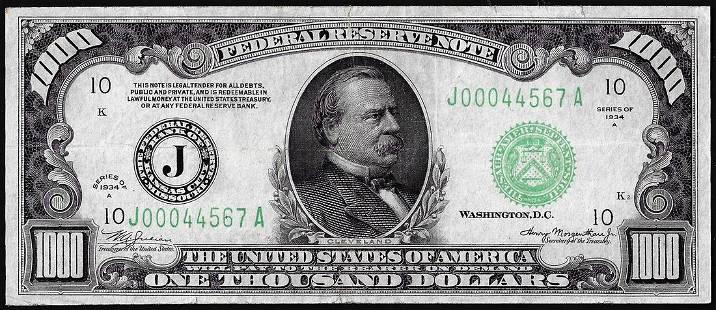 1934A $1,000 Federal Reserve Note Kansas City