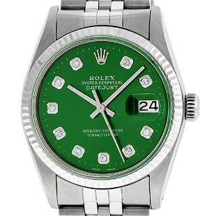Rolex Mens Stainless Steel Green Diamond Datejust