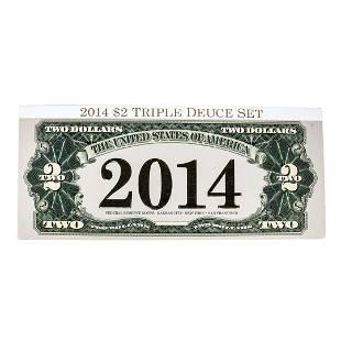 Matching Serial Number 2014 $2 Triple Deuce Federal
