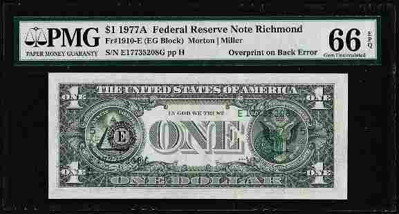 1977A $1 Federal Reserve Note Overprint on Back Error