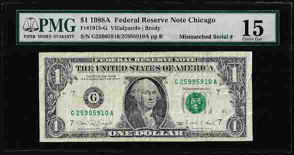 1988A $1 Federal Reserve Note Mismatched Serial Number