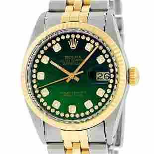 Rolex Mens Two Tone Green String Diamond Datejust