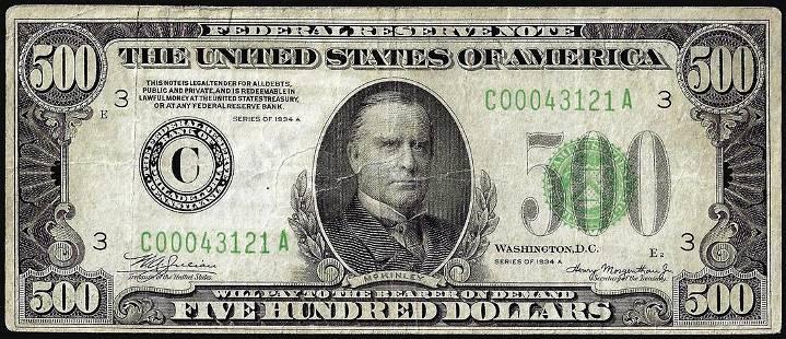 1934A $500 Federal Reserve Bank Note Philadelphia