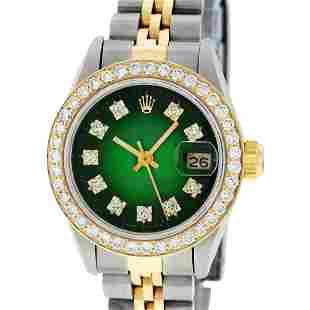Rolex Ladies Two Tone Green Vignette Diamond Oyster