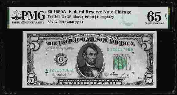 1950A $5 Federal Reserve Note Fr.1962-G PMG Gem