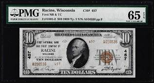 1929 $10 First NB & Trust Racine, WI CH# 457 National
