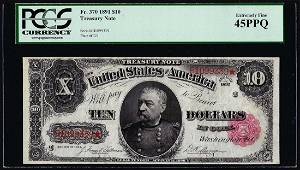 1891 $10 Treasury Note Fr.370 PCGS Extremely Fine 45PPQ