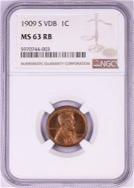 1909-S VDB Lincoln Wheat Cent Coin NGC MS63RB