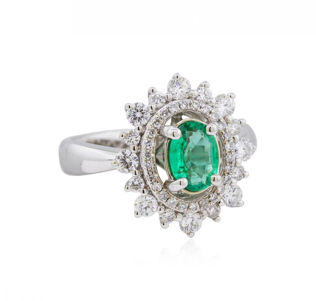 14KT White Gold 0.69ct Emerald and Diamond Ring