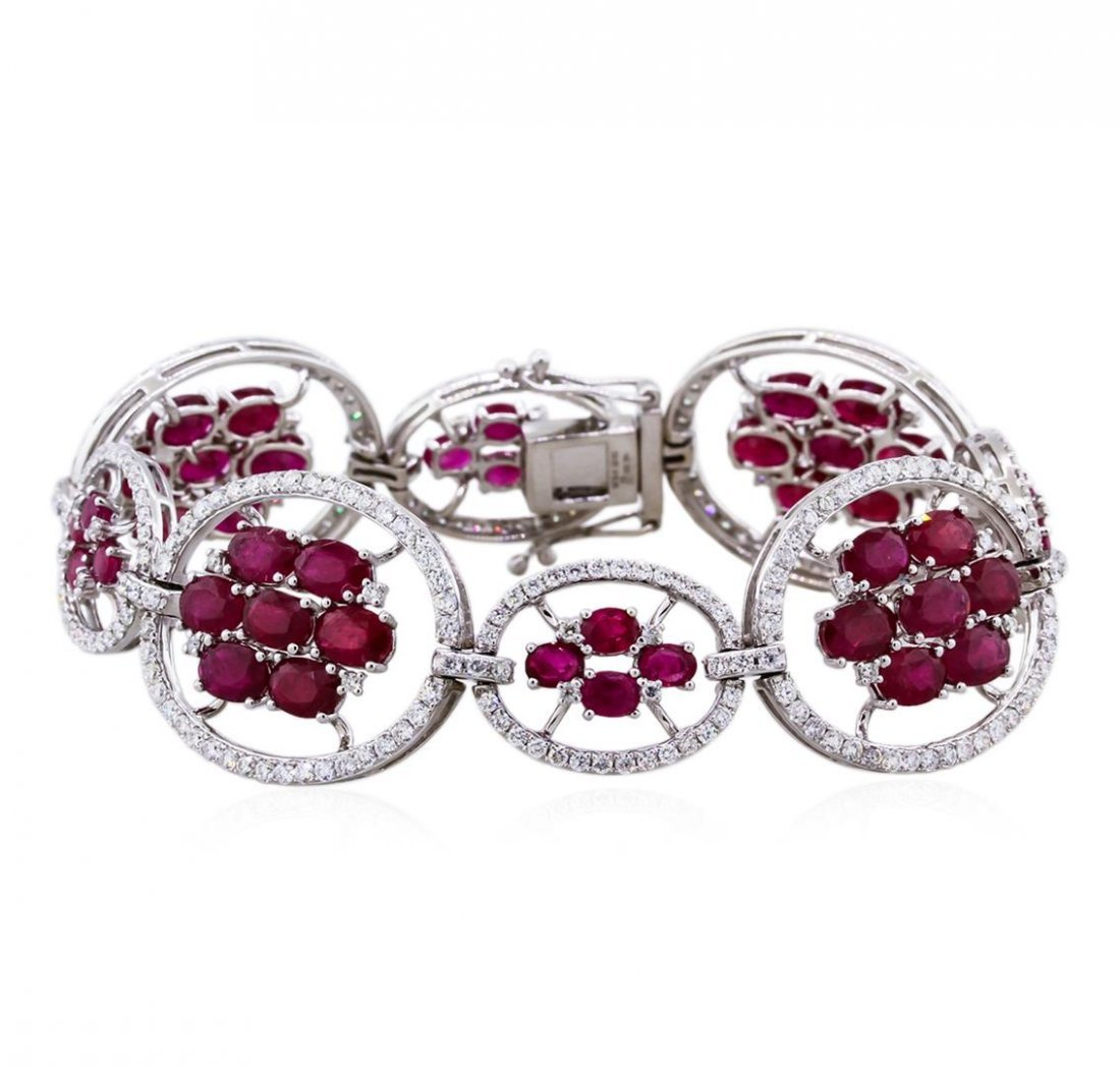 14KT White Gold 19.66ctw Ruby and Diamond Bracelet