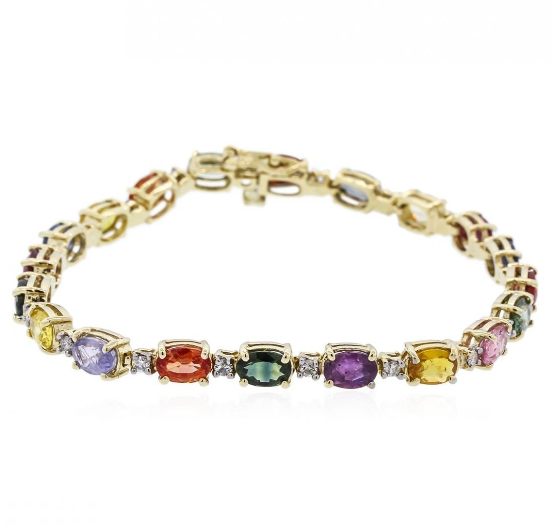 14KT Yellow Gold 13.70ctw Multi Color Sapphire and