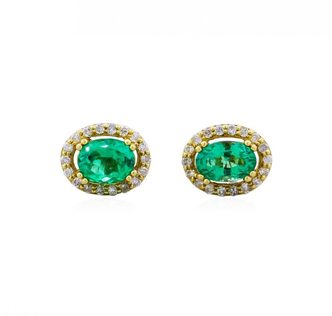 14KT Yellow Gold 1.12ctw Emerald and Diamond Earrings
