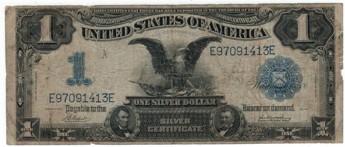 1899 $1 Black Eagle Silver Certificate US Currency Bank