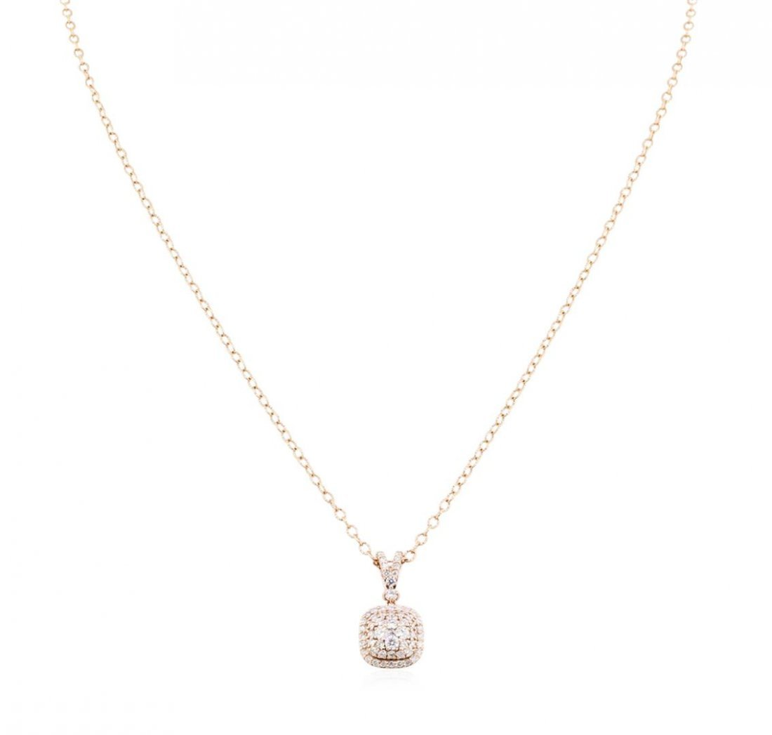14KT Rose Gold 0.74ctw Diamond Pendant With Chain