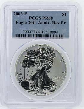 2006-p Silver Eagle 20th Anniversary Reverse Proof Pcgs