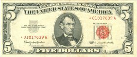 1963 $5 Red Seal Star Note