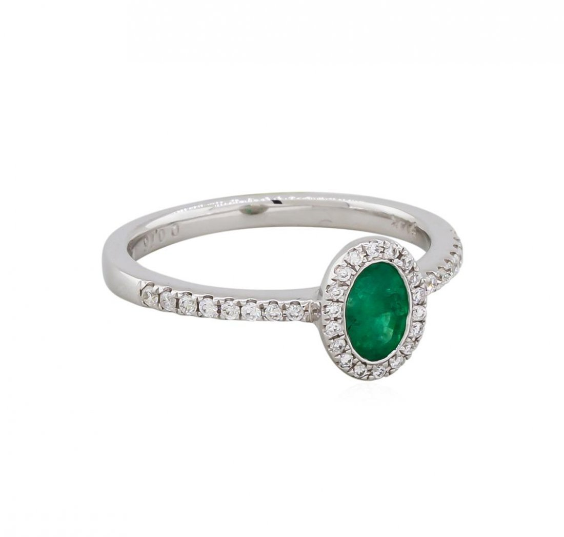 14KT White Gold 0.45ct Emerald and Diamond Ring