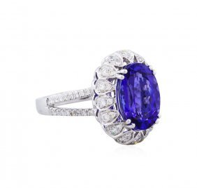14kt White Gold 4.11ct Tanzanite And Diamond Ring