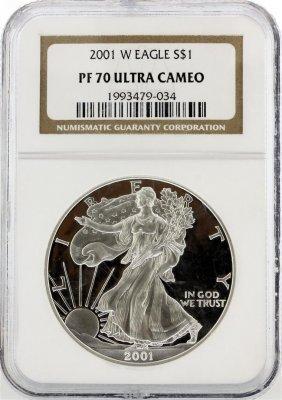 2001-w Ngc Graded Pf70 Ultra Cameo $1 American Silver