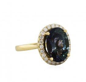 14kt Yellow Gold 6.88ct Tanzanite And Diamond Ring