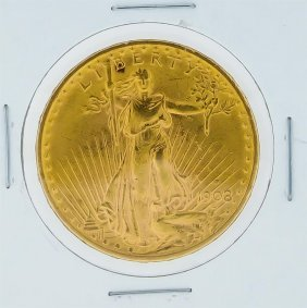 1908-d $20 St. Gaudens Double Eagle Gold Coin