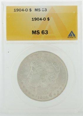 1904-o $1 Morgan Silver Dollar Anacs Graded Ms63