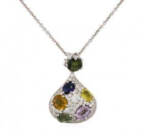 14kt White Gold 4.20ctw Sapphire And Diamond Pendant