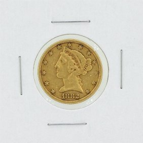 1882 $5 Vf Liberty Head Gold Coin