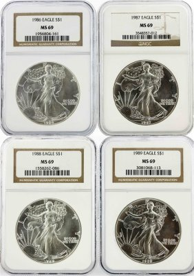 Set Of (4) 1986-1989 $1 Silver Eagle Coins Ngc Graded