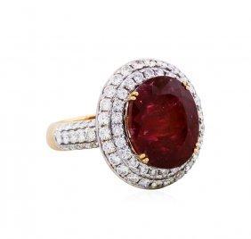 18kt Rose Gold 9.53ct Tourmaline And Diamond Ring