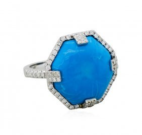 14kt White Gold 0.47ctw Diamond And Turquoise Ring