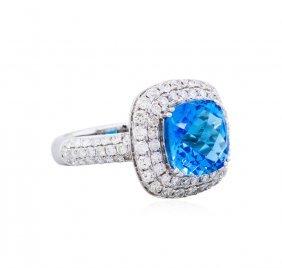 14kt White Gold 5.46ct Topaz And Diamond Ring