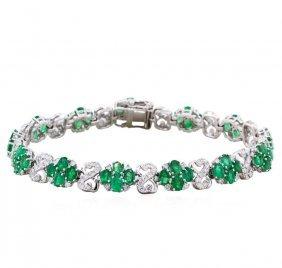 14kt White Gold 8.43ct Emerald And Diamond Bracelet