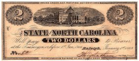 1863 $2 State Of North Carolina Obsolete Currency Note