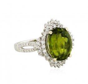 18kt Rose Gold 6.52ct Tourmaline And Diamond Ring