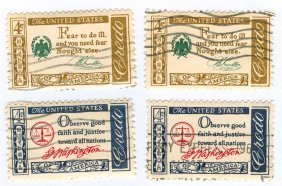 1960-1961 United States Credo Postage Stamps Lot Of 4