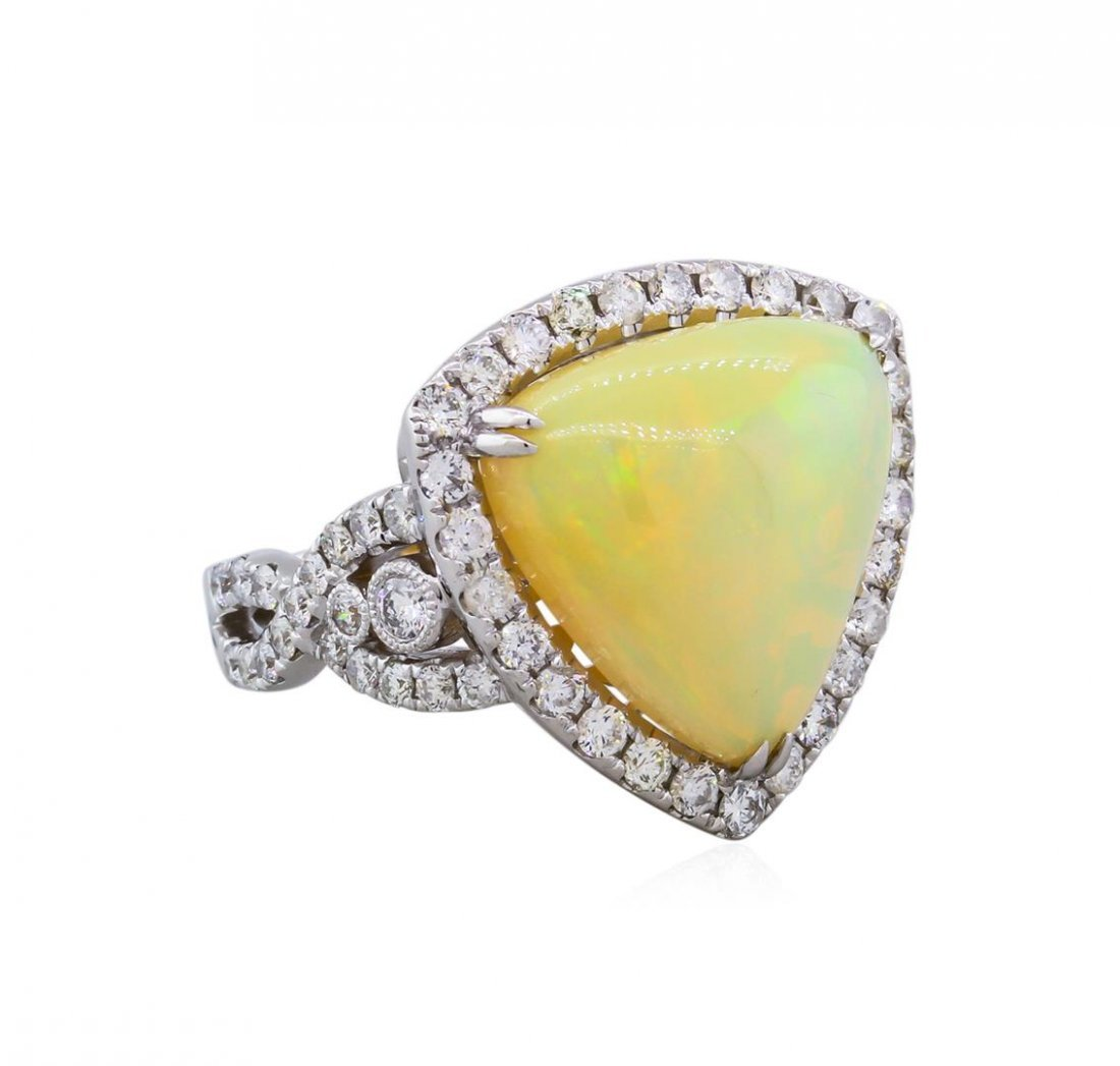 18KT White Gold 6.63ct Opal and Diamond Ring