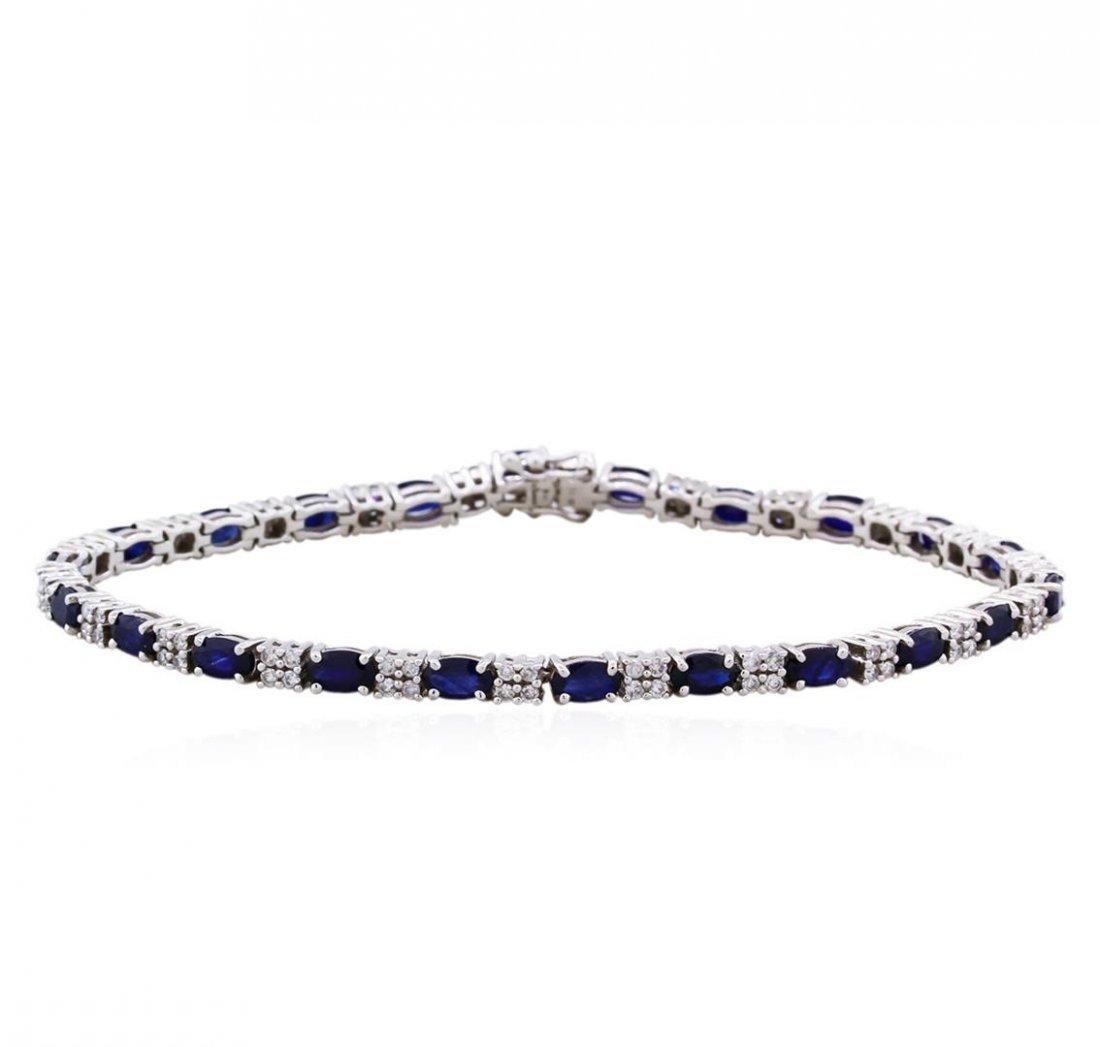 14KT White Gold 5.51ctw Sapphire and Diamond Bracelet