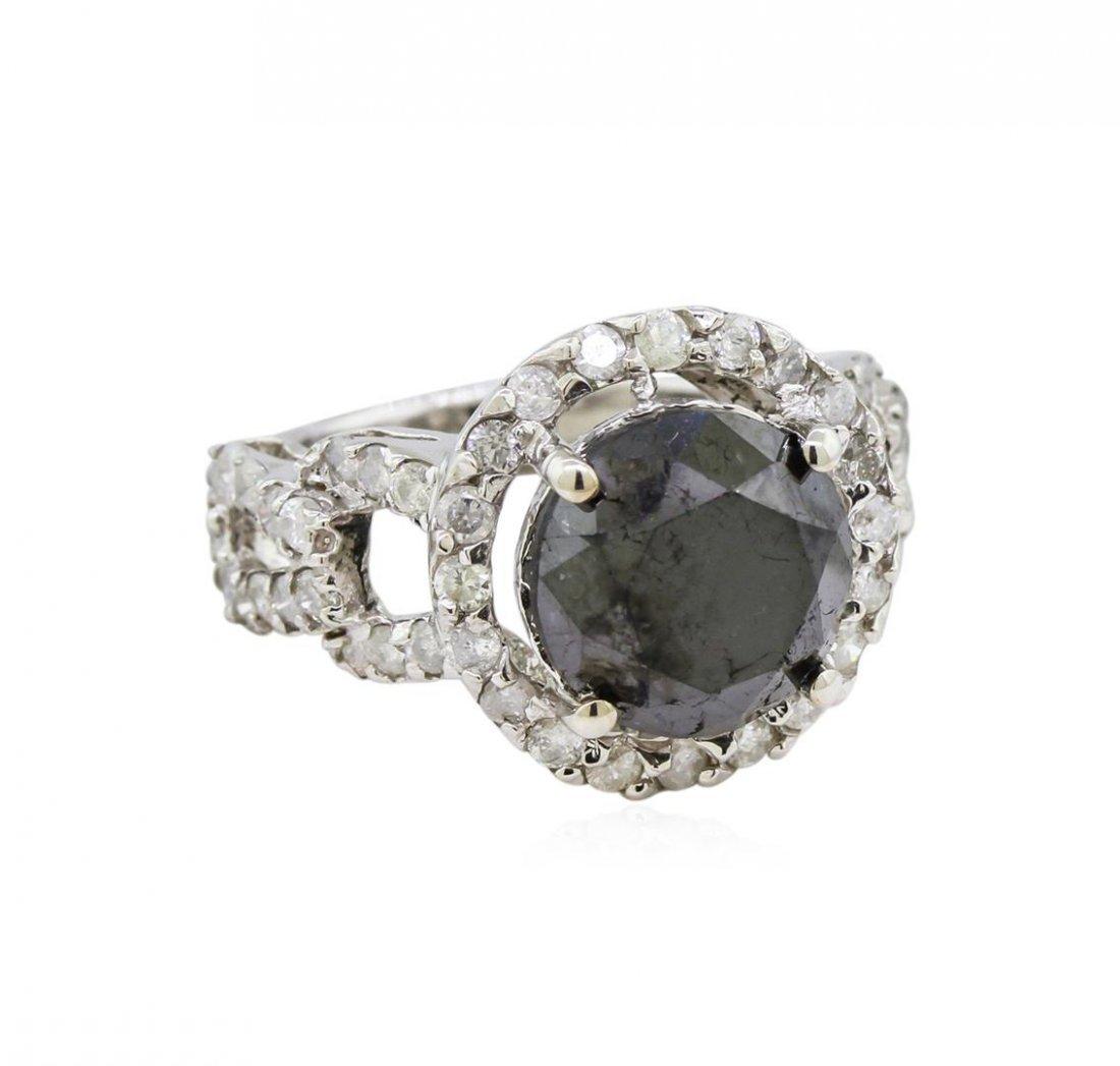 14KT White Gold 6.34ctw Fancy Black Diamond Ring