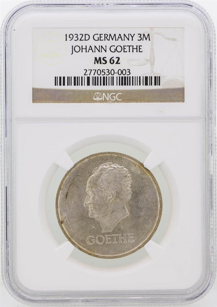 1932-D Germany 3M Johann Goethe Coin NGC Graded MS62