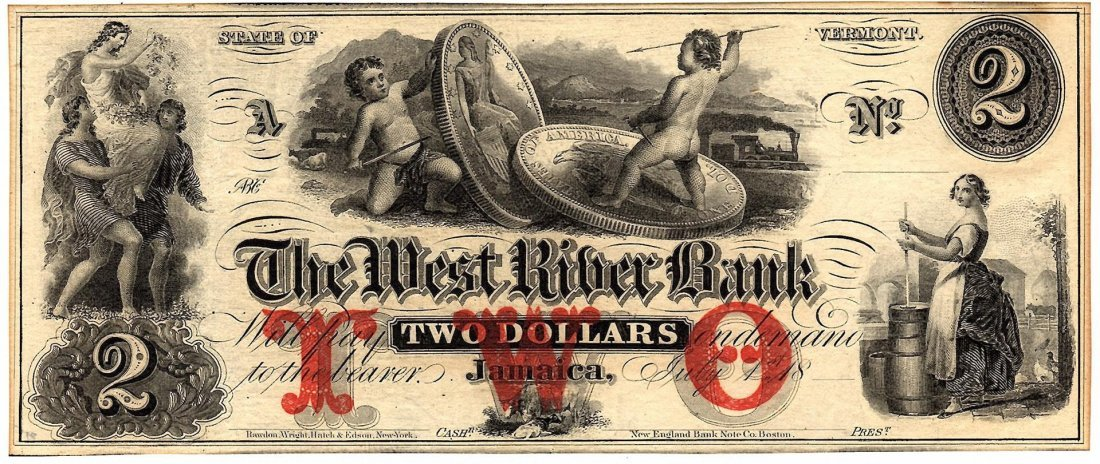 1800's $2 West River Bank Vermont Obsolete Currency
